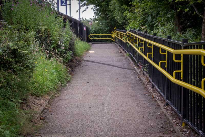 Ramp from car park to platform at Darwen Train Station