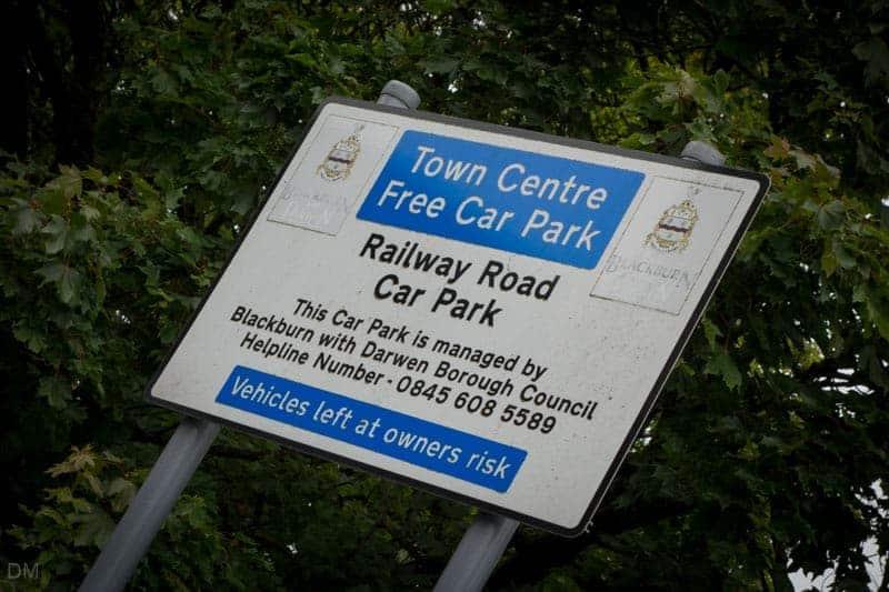 Free parking sign at Railway Road Car Park, Darwen, Lancashire