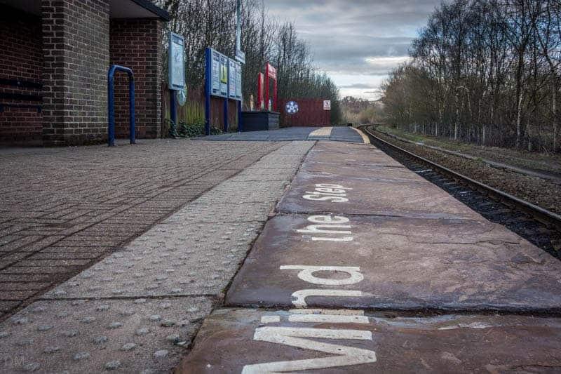 Platform at Entwistle Train Station in Bolton, Blackburn