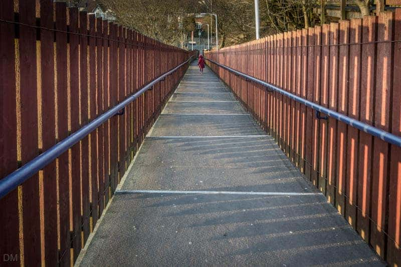 Stairs to platform at Hall i' th' Wood Train Station from Crompton Way