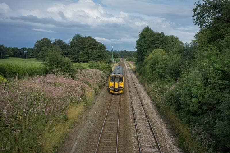 Train on East Lancashire Line leaving Pleasington Train Station