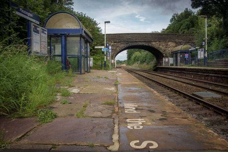 Platforms and shelters at Pleasington Train Station near Blackburn