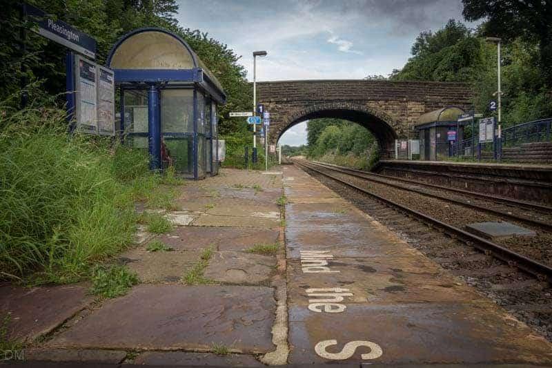 Platforms and shelters at Pleasington Train Station near Blackburn