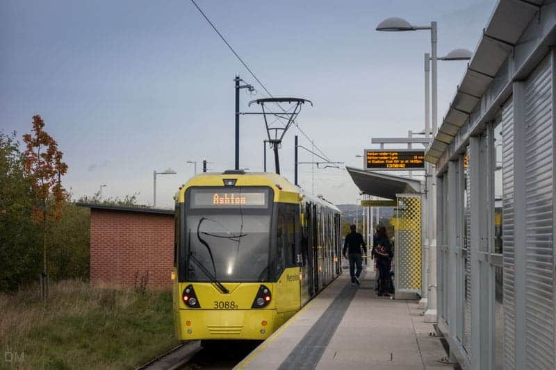Tram to Ashton-under-Lyne at Ashton Moss Metrolink Station