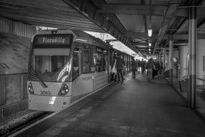 Tram to Manchester at Bury Metrolink Station