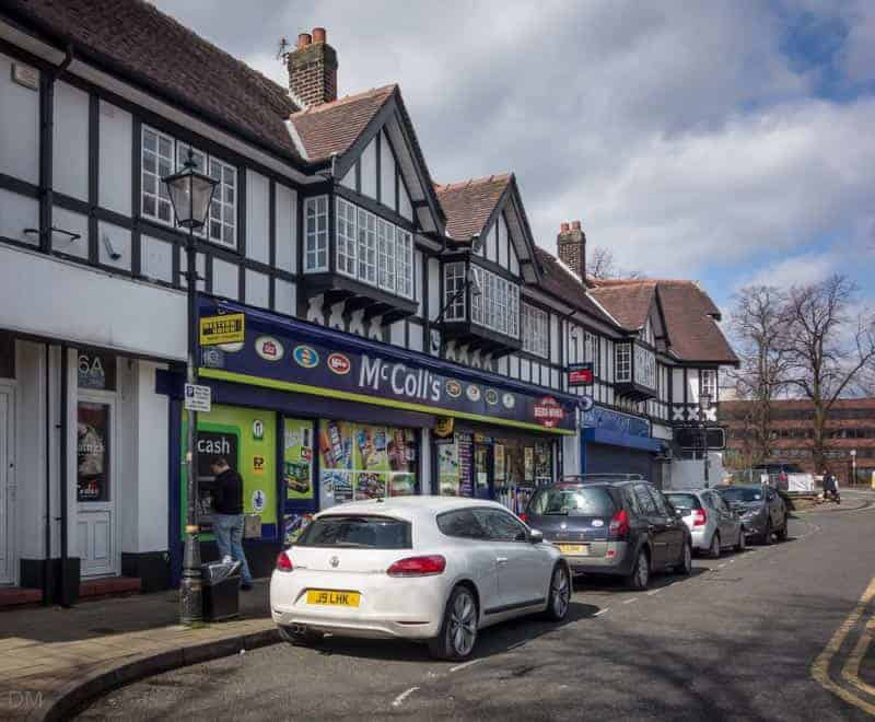 Shops on Brooklands Road in Sale, Greater Manchester