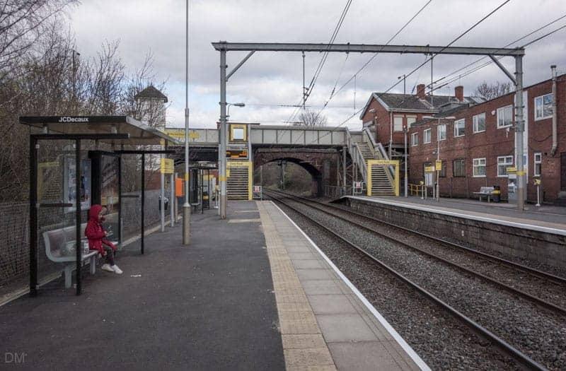 Station platforms at Dane Road Metrolink Station, Sale, Greater Manchester