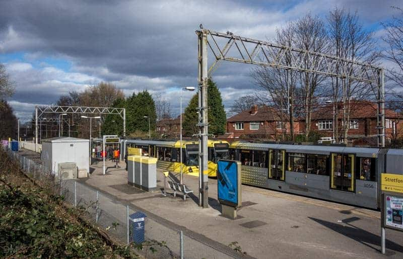 Tram at Stretford Metrolink Station.