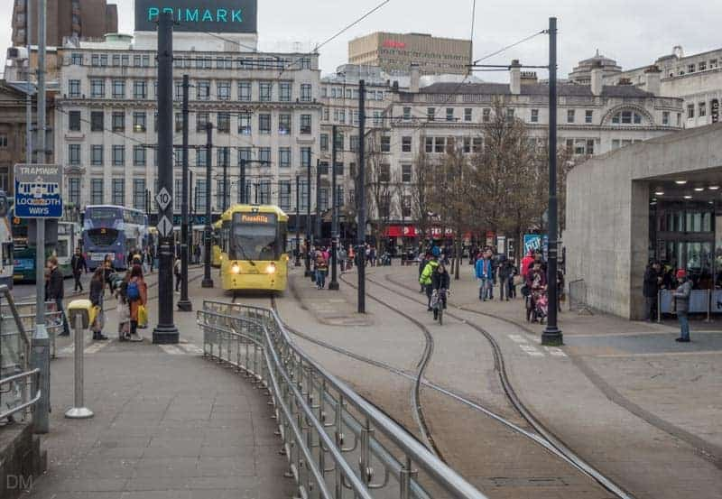 Tram approaching Piccadilly Gardens Metrolink Station from Market Street