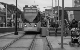 Tram to Bury via Victoria at Shudehill Metrolink Station in Manchester