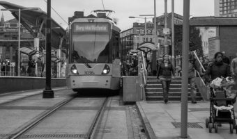 Tram to Bury via Victoria at Shudehill Metrolink Station in Manchester
