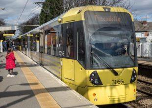 Tram at Navigation Road Metrolink Station in Altrincham
