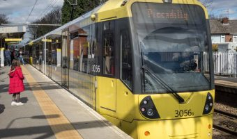 Tram at Navigation Road Metrolink Station in Altrincham