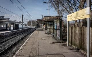 Platforms at Prestwich Metrolink Station.