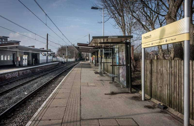 Platforms at Prestwich Metrolink Station.