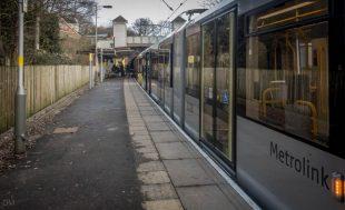 Tram at Heaton Park Metrolink Station.