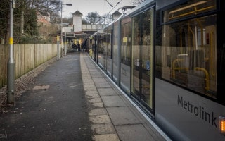 Tram at Heaton Park Metrolink Station.