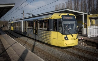 Tram at Radcliffe Metrolink Station