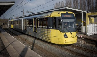 Tram at Radcliffe Metrolink Station