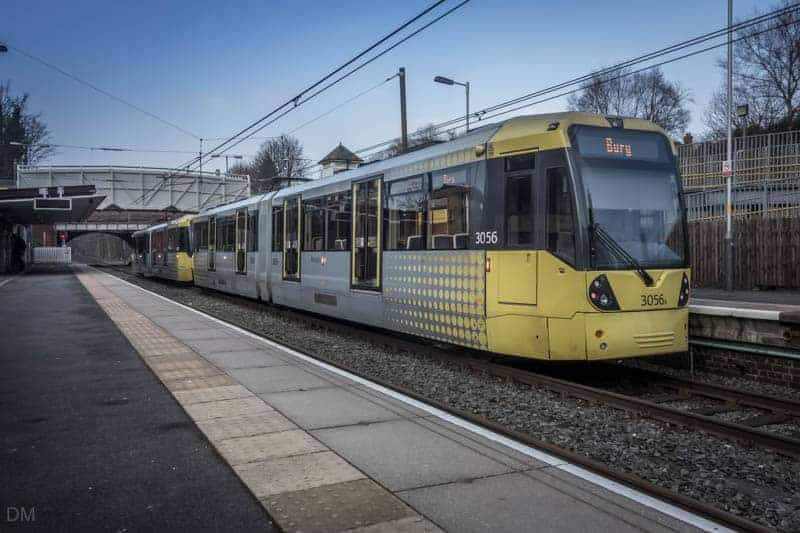 Tram at Crumpsall Metrolink Station.