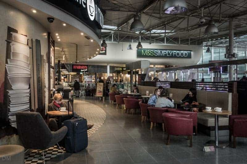 Mezzanine Level at Manchester Piccadilly Train Station - Caffe Ritazza, TGI Friday's, and M&S Simply Food