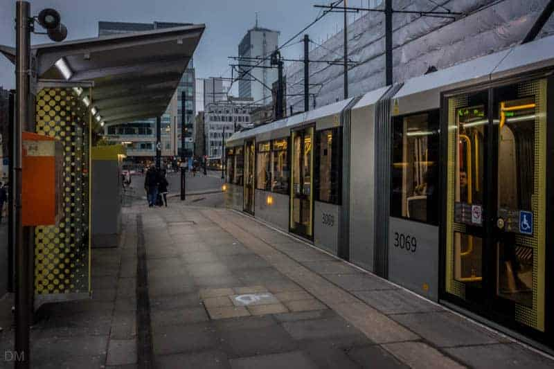 St Peter'sTram at St Peter's Square Metrolink Station in Manchester city centre.