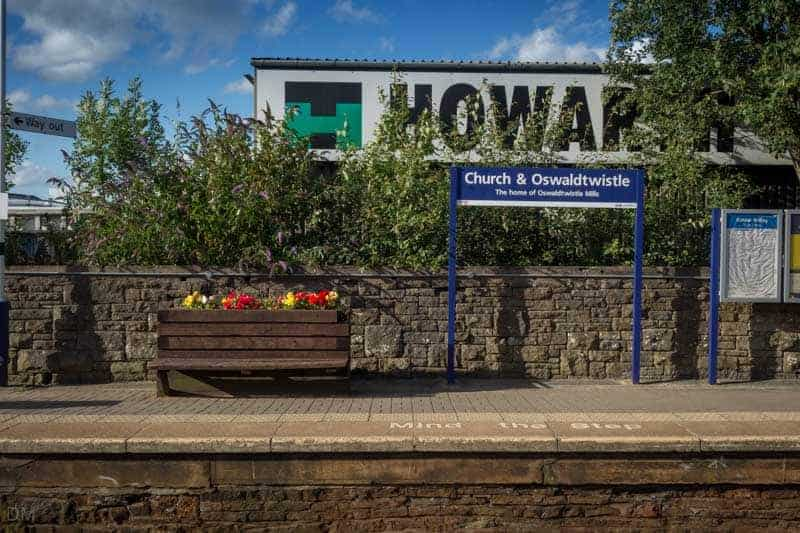 Bench and Flower Bed at Church and Oswaldtwistle Train Station