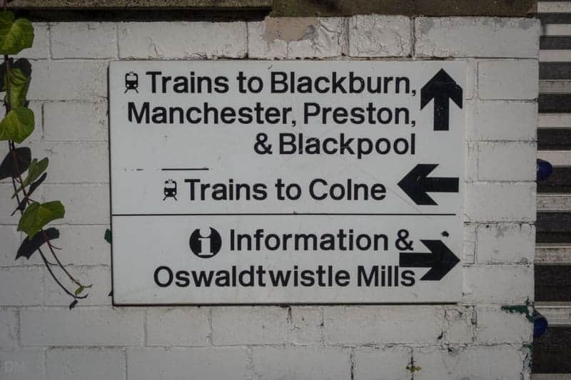 Sign for Platforms and Oswaldtwistle Mills at Church and Oswaldtwistle Train Station