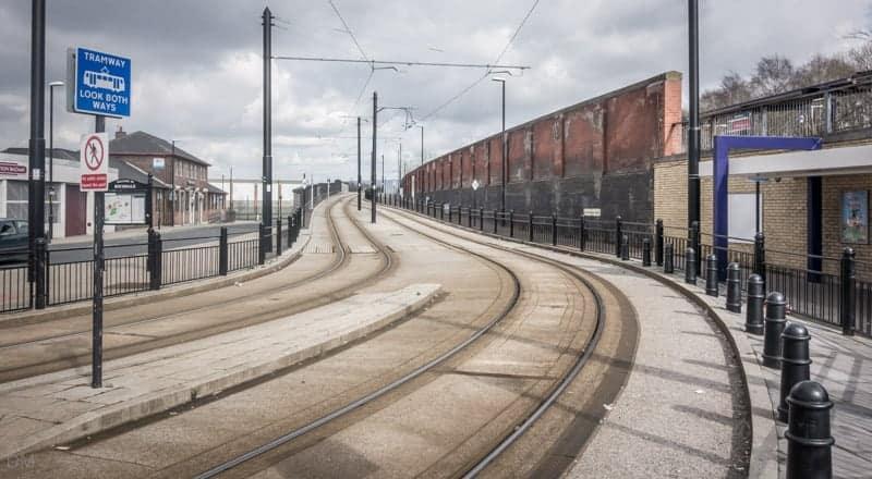 Metrolink tramway outside Rochdale Train Station