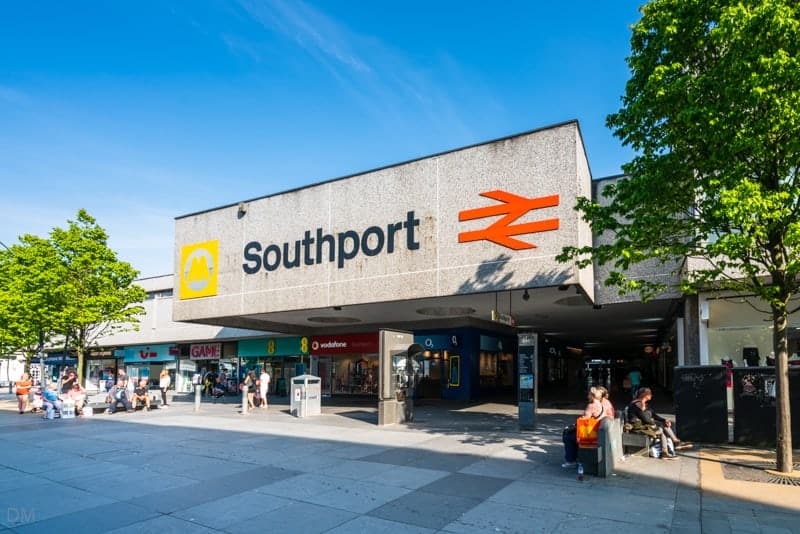 Entrance to Southport Train Station, Chapel Street, Southport, Merseyside