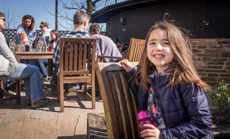 Beer garden at the Strawberry Duck pub, Edgworth