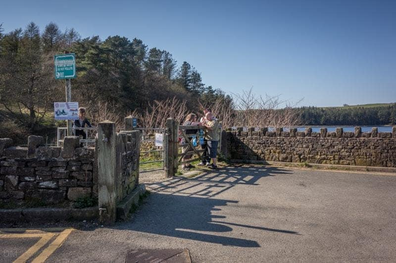 Start of the walk around Turton and Entwistle Reservoir at the gate opposite the car park entrance