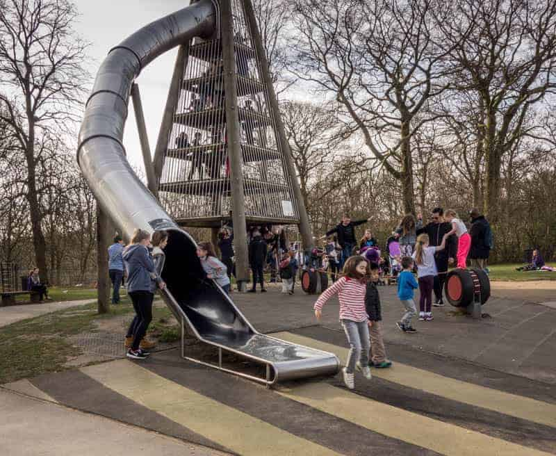 Slide at Northern Play Area, Heaton Park, Manchester