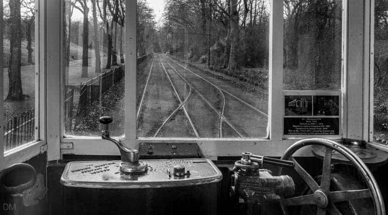 View from tram at Middleton Road entrance of Heaton Park