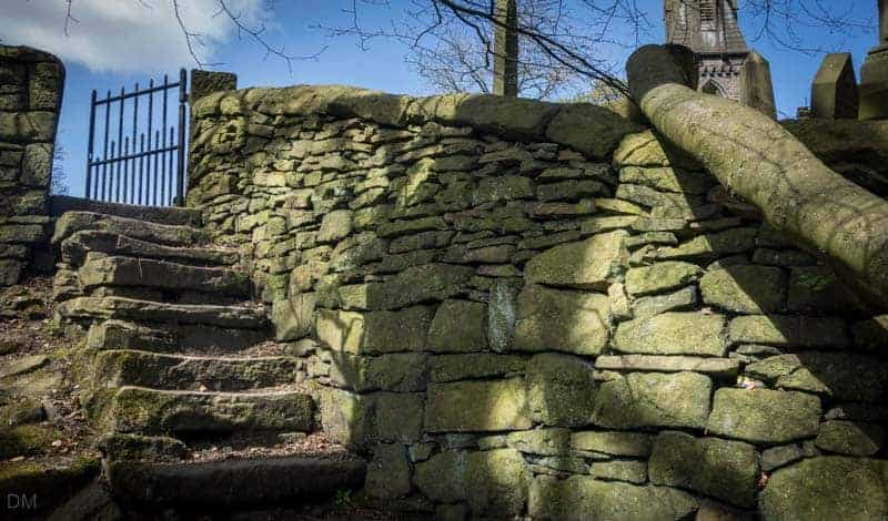 Steps from woodland to Emmanuel Church, Holcombe, Ramsbottom