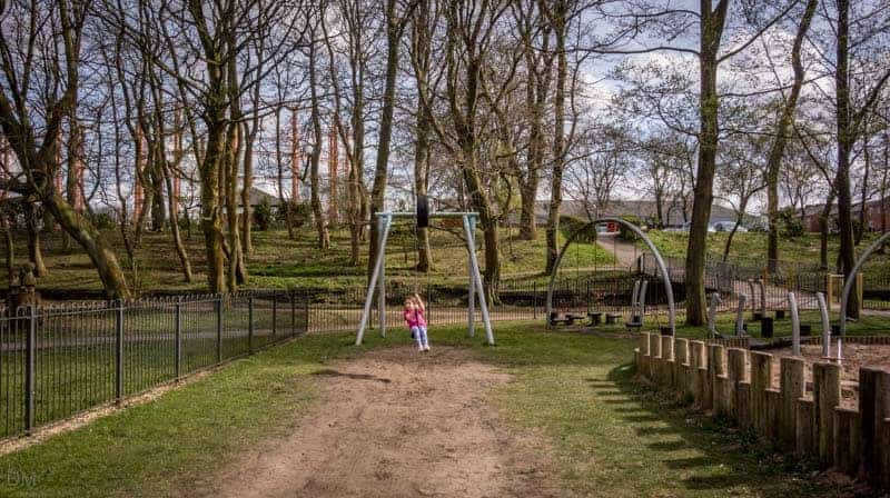 Zip wire or aerial runway at Queens Park playground in Bolton