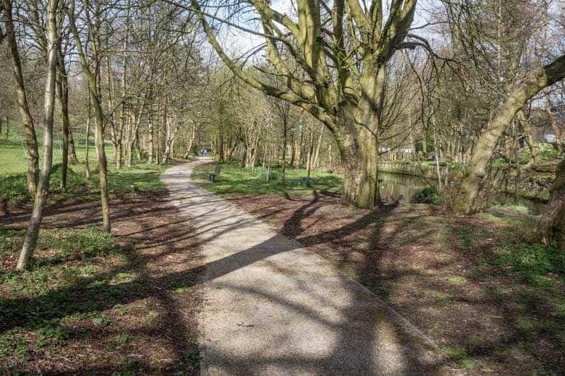Woodland walk along banks of the River Croal