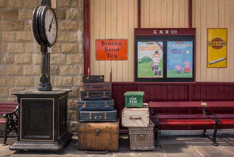 Suitcases and scales at Ramsbottom Train Station