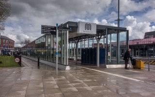 Bus stands at Bury Bus Station at Bury Interchange