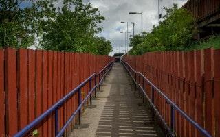 Ramp to platforms at Hag Fold Train Station