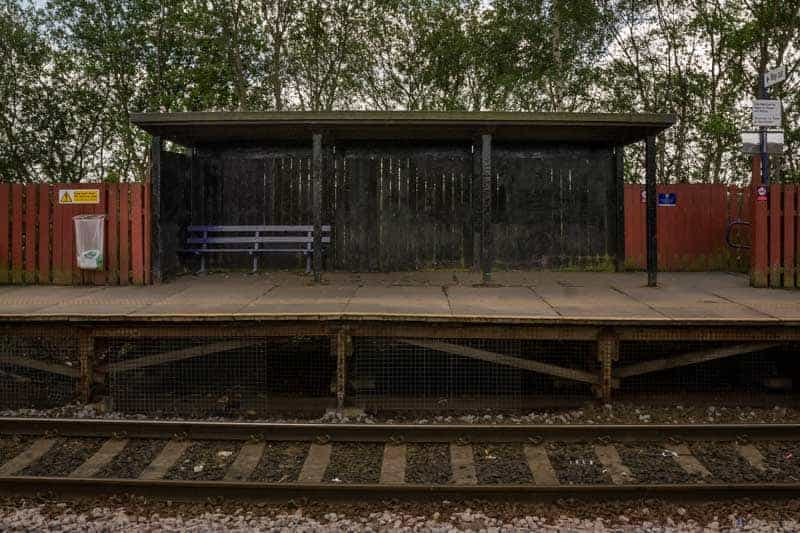 Passenger shelter at Hag Fold Train Station
