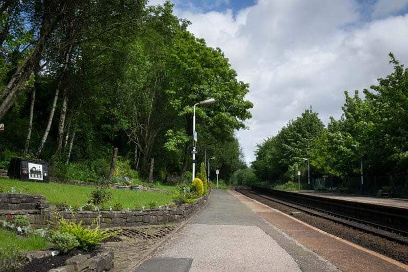 View of platforms and gardens at Hindley Train Station