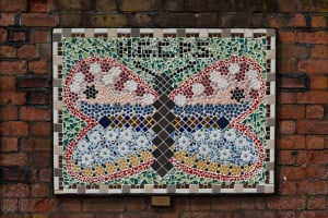 Mural at Hindley Train Station created by pupils of Hindley Green Community Primary School