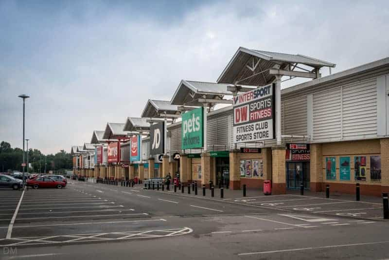 Stores at Parsonage Retail Park in Leigh, near Wigan.