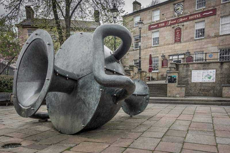 Edward Allington's Tilted Vase sculpture in Ramsbottom