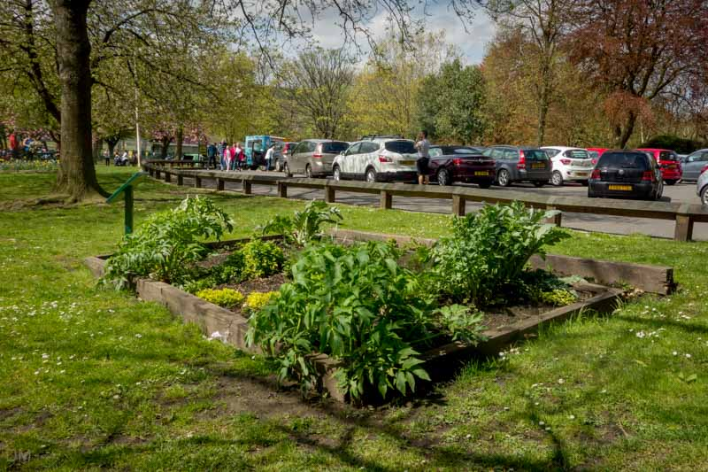 Herb garden and car park at Nuttall Park, Ramsbottom.