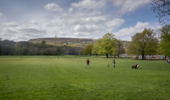 Playing fields at Nuttall Park with Peel Tower in the background.