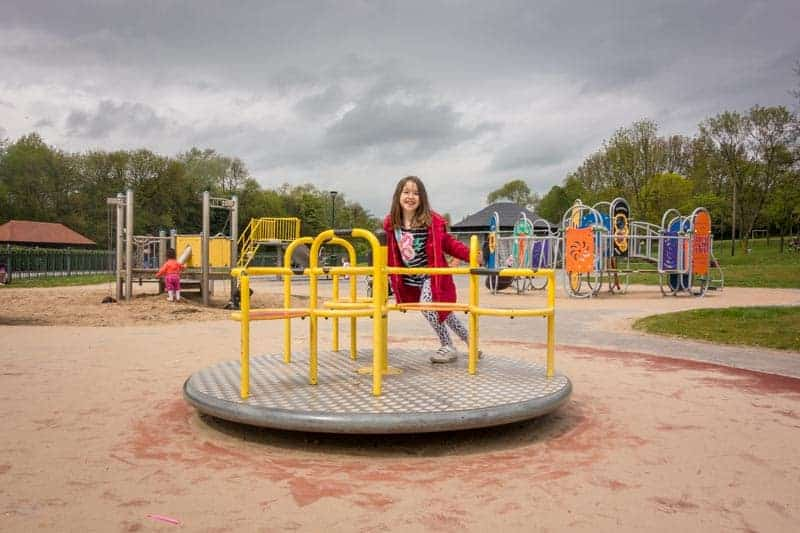 Toddlers' play area at Mesnes Park in Wigan, Greater Manchester.