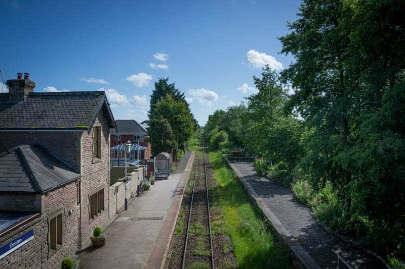 View of Croston Train Station from road bridge