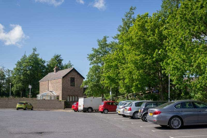 Car park at Croston Train Station, near Chorley